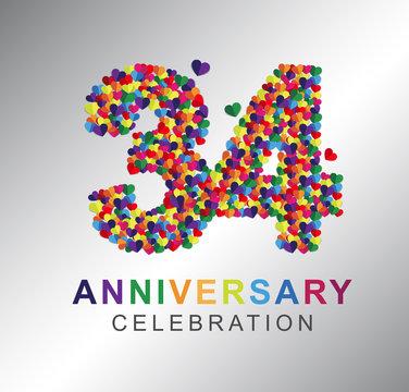 34th anniversary design logotype paper hearts multi-color for celebration