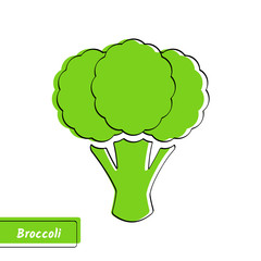 Flat design vegetable education card. Vector illustration with big solid green isolated broccoli, black outline and stylish label on white background for organic market logo, fresh product or kid game