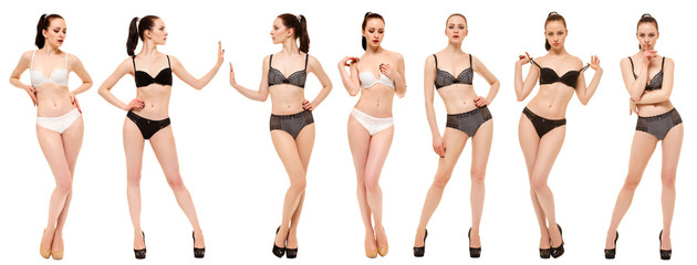 Beautiful girl in lingerie showing different poses standing on white background. Collage of photos of one model