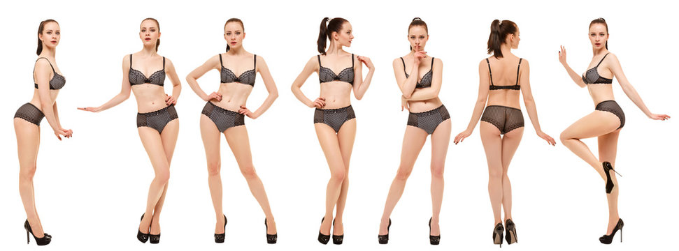 Collage of models in black lingerie. Young woman posing standing on white background