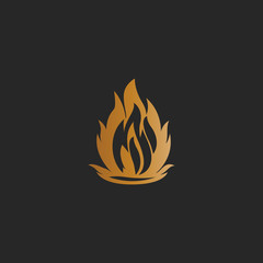 gold fire symbol logo