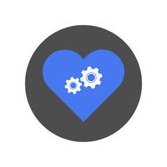 Mechanical heart symbol. Vector icon.
