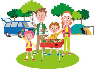バーベキューを楽しむ家族 春夏