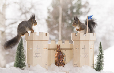 red squirrels on a castle in a winter