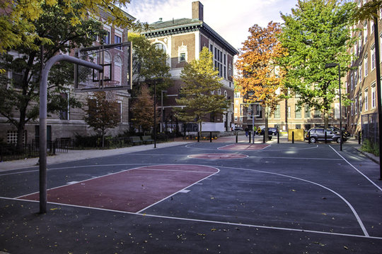 Basketball court in North End, Boston, USA