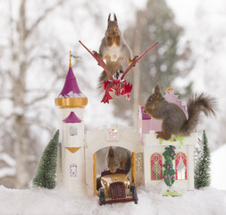 red squirrels  in winter  with an palace and dragon