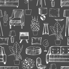 Furniture, lamps and plants for the home.Vector seamless pattern