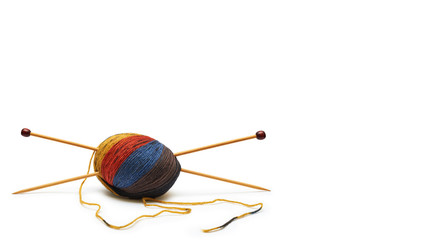 hand sewing Kit at home. Valuable handmade. Isolated on white background. copy space, template.