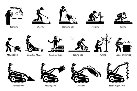Landscaping and Horticulture. Icons depict landscaper and gardener working activities in the garden lawn.
