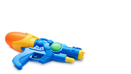 Blue squirt gun. Isolated on white background. copy space, template