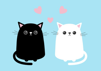 Black white cute cat sitting kitten set. Pink hearts. Cartoon kitty character. Kawaii animal. Funny face with eyes, mustaches, nose, ears. Love Greeting card. Flat design. Blue background