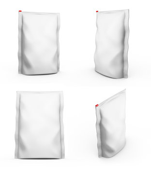 Blank Foil plastic white coffee bag isolated on white background. Packaging template mockup collection. 3d rendering.Ready for your design. 3d rendering
