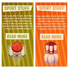 Vector banners with sport icons. Bowling. Basketball. Ready-made poster with basket, ball, skittles.