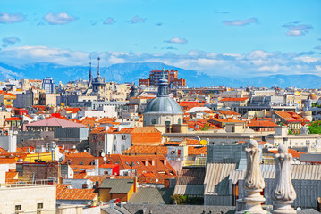 Wall Mural - Panoramic view from above on the capital of Spain- the city of M