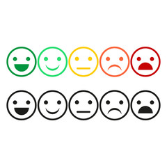 Set emoticons icons for applications and chat. Emoticons with different emotions isolated on white background.