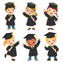 Set of children in a graduation gown and mortar board