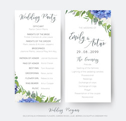 Wedding floral wedding party & ceremony program card design with elegant blue hydrangea flowers, white garden roses, green eucalyptus, lilac branches, greenery leaves & cute berries. Delicate template