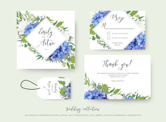 Wedding floral invite, save the date, thank you, rsvp, label card design with elegant blue hydrangea flowers, white garden roses, green eucalyptus, lilac, greenery leaves &  berries. Delicate cute set