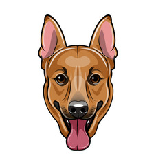 German shepherd dog face. Cartoon  illustration isolated on white