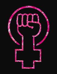 Feminist slogan girl power. Vector