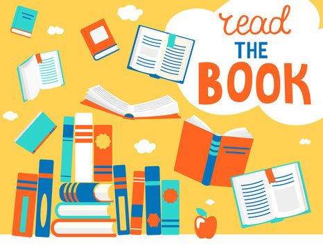 Close and open books in different positions with bubble read the book. Knowledge, learning, education, relax and enjoy concept design. Vector illustration in flat style.