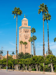 Palm trees in front of the Koutoubia Mosque (Kutubiyya Mosque) - the largest mosque in Marrakesh, Morocco, Africa