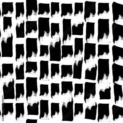 Vector Hand Drawn Black And White Seamless Pattern In Grunge Style Brush Stroke Geometric