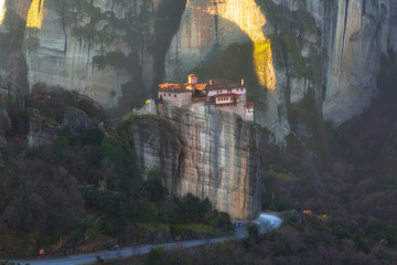 Monastery of Rousanou or St. Barbara Monastery at Meteora.  Orthodox monasteries in Greece.