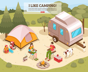 Camping Barbecue Isometric Poster