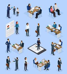 Employment Recruitment Isometric Icons