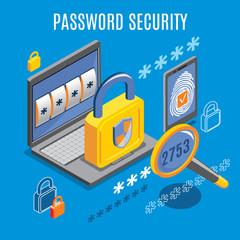 Password Security Isometric Background