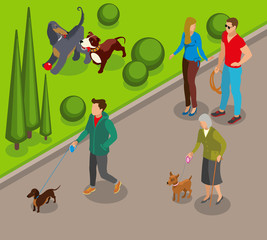 Dog Walking Isometric Illustration