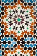 Exterior ceramic tiles patterns in Marrakesh, Morocco