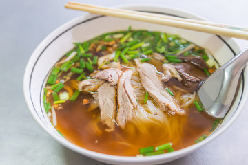 Chinese roast duck noodle soup recipe delicious street food of Thailand