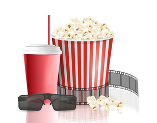Movie objects. Popcorn, soda takeaway, 3d cinema glasses. Cinema design in realistic style. Vector illustration.