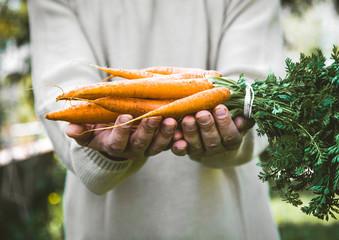Fsrmer with Fresh carrots