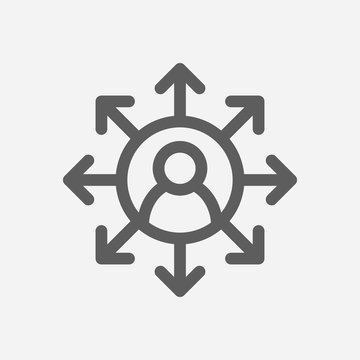 Core values: accountability icon line symbol. Isolated vector illustration on core values multitasking sign concept for your web site mobile app logo UI design.