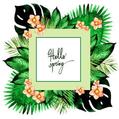 Watercolor tropical palm leaves frame illustration isolated on white background