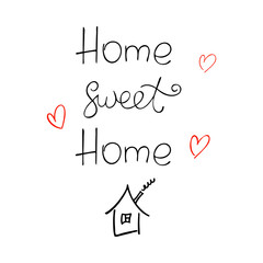 Home sweet home ink vector lettering.
