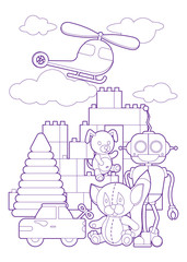 Cute kids toys, coloring page illustration. Coloring book with set of different toys for boys and girls isolated on white background. eps10 vector illustration.
