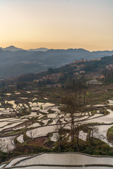 Sunrise with morning sky on background at Qingkou Viewpoint in Yuanyang, South of China.