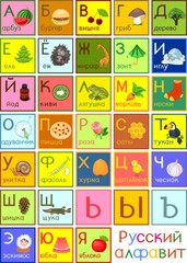 Colorful Russian alphabet with pictures and titles for children education