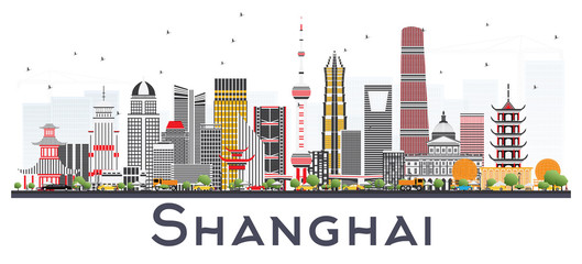 Shanghai China City Skyline with Color Buildings Isolated on White.