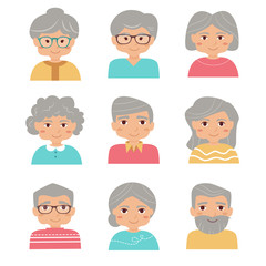 Old people set. Vector isolated illustration