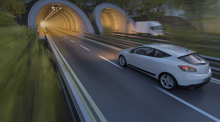 3D Rendering of Automobile Going into the Tunnel