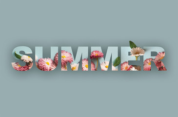 "word ""Summer"" of white and pink daisies. Collage"