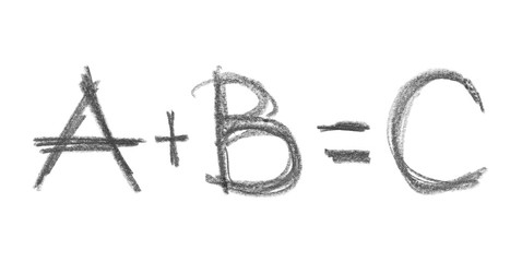 A plus B equals C grunge graphite pencil drawing background and texture isolated on white background, design element