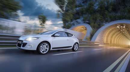 3D Rendering of White Car Coming out of the Tunnel at Dusk