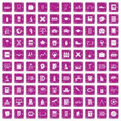 100 school icons set grunge pink
