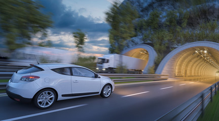 3D Rendering of Passenger Car Entering into the Tunnel at Sunset